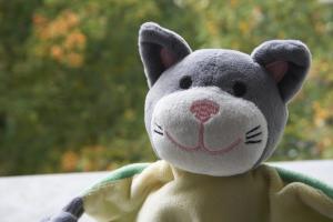 Schnuffeltuch Mister Katz im Herbst